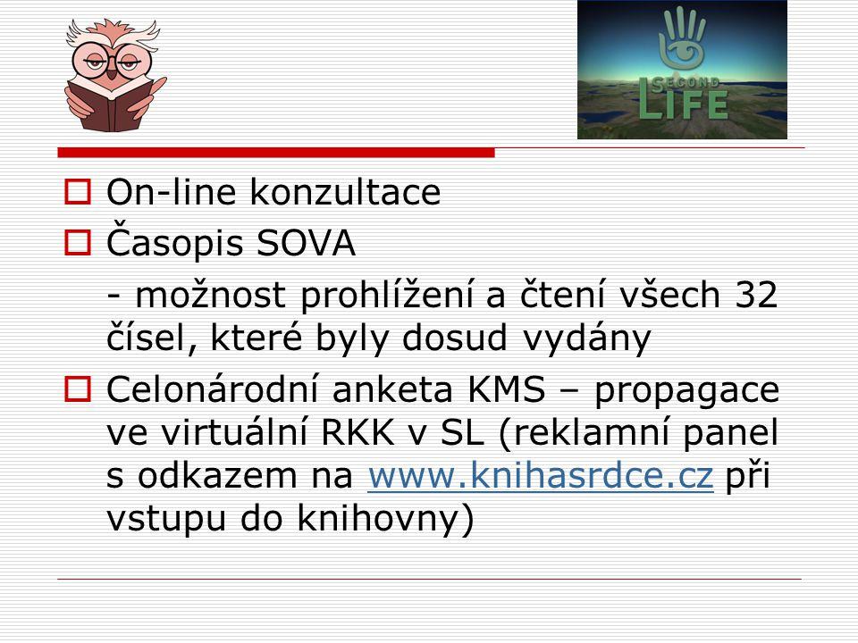 On-line konzultace Časopis SOVA. - možnost prohlížení a čtení všech 32 čísel, které byly dosud vydány.