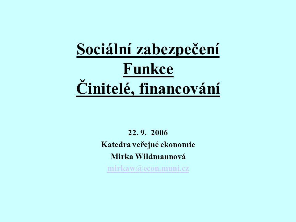 Sociální zabezpečení Funkce Činitelé, financování