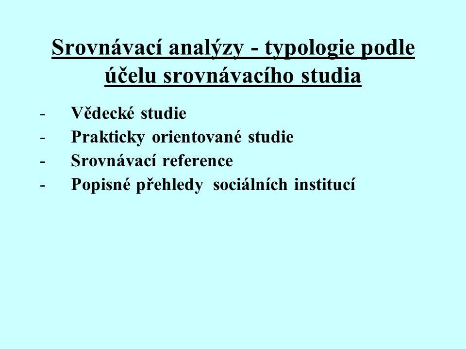 Srovnávací analýzy - typologie podle účelu srovnávacího studia