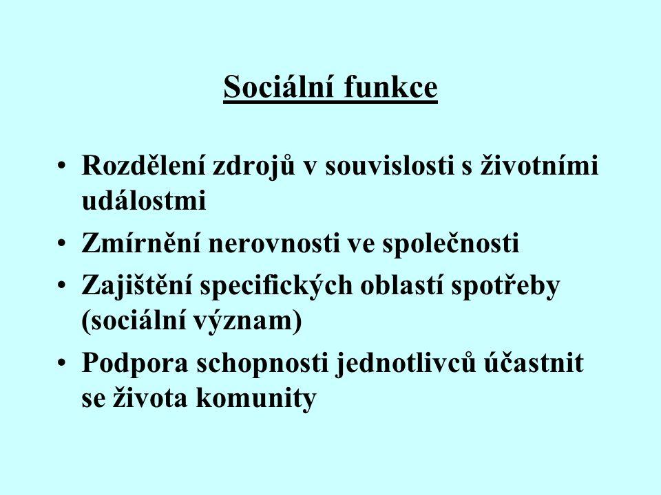 Sociální funkce Rozdělení zdrojů v souvislosti s životními událostmi