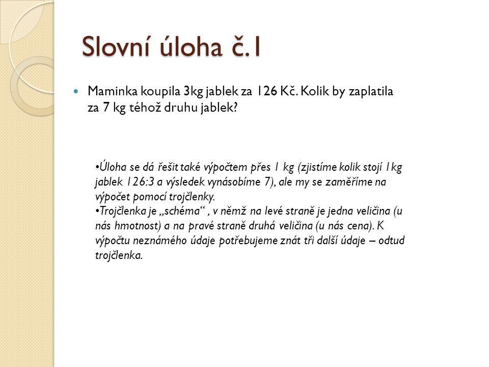 Slovní úloha č.1 Maminka koupila 3kg jablek za 126 Kč. Kolik by zaplatila za 7 kg téhož druhu jablek