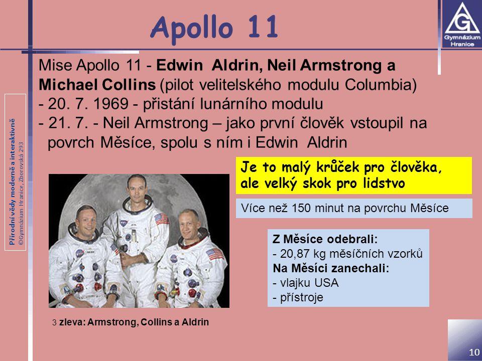 Apollo 11 Mise Apollo 11 - Edwin Aldrin, Neil Armstrong a Michael Collins (pilot velitelského modulu Columbia)