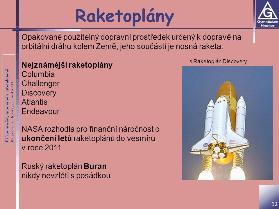 Raketoplány Opakovaně použitelný dopravní prostředek určený k dopravě na orbitální dráhu kolem Země, jeho součástí je nosná raketa.