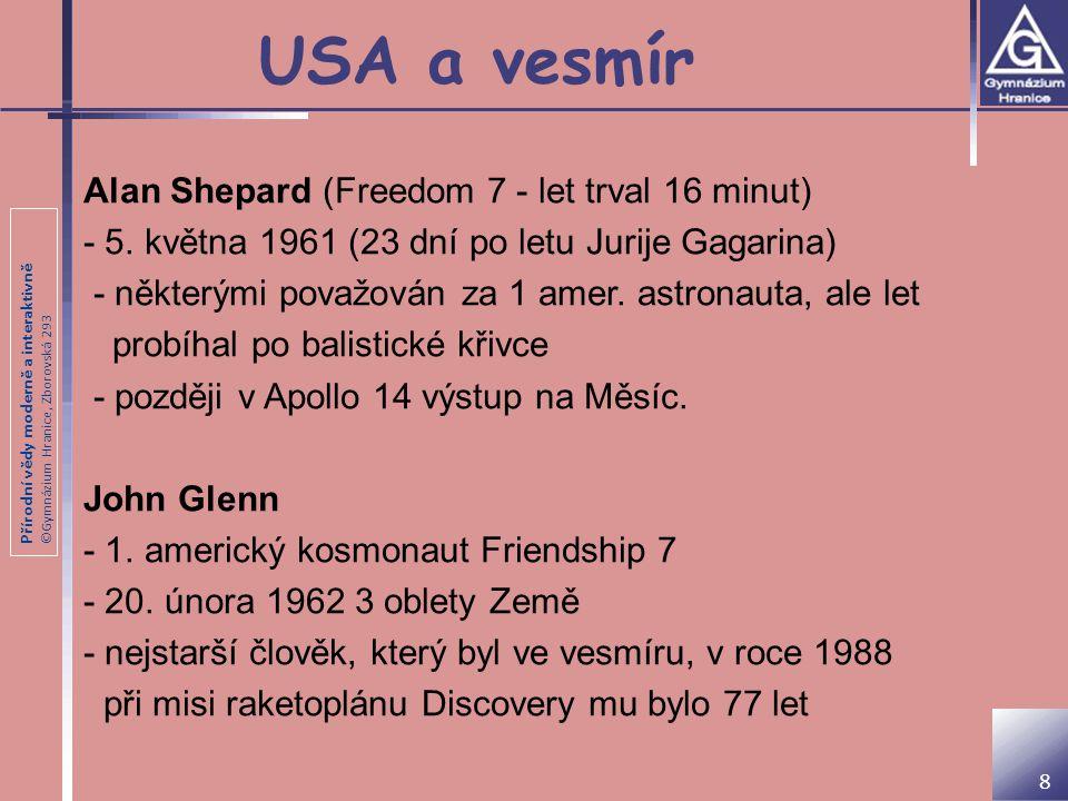 USA a vesmír Alan Shepard (Freedom 7 - let trval 16 minut)