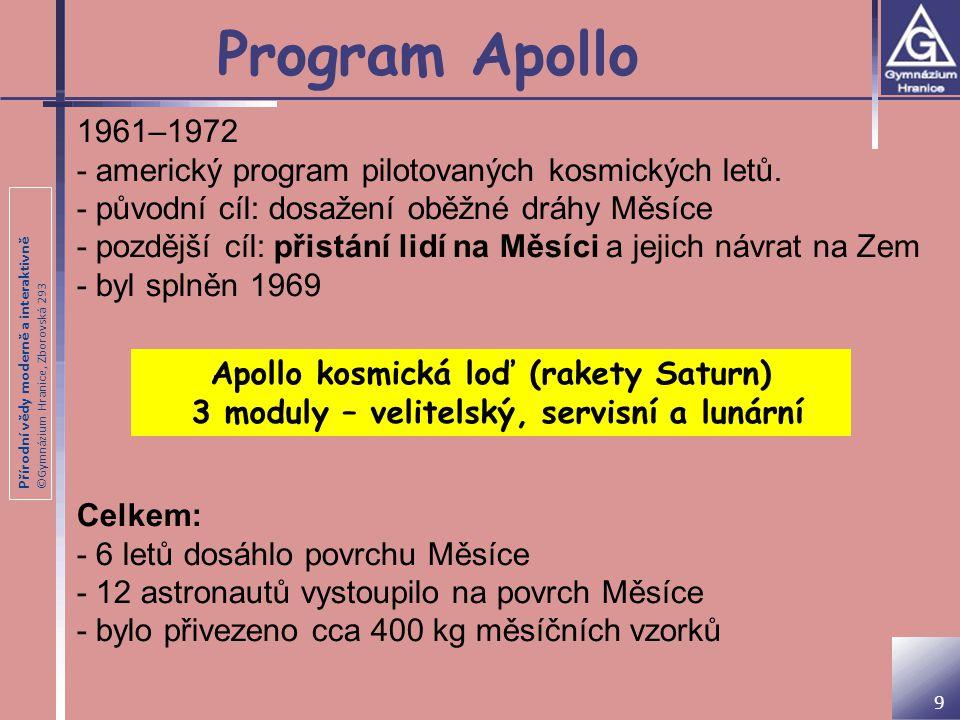 Program Apollo 1961–1972. - americký program pilotovaných kosmických letů. - původní cíl: dosažení oběžné dráhy Měsíce.