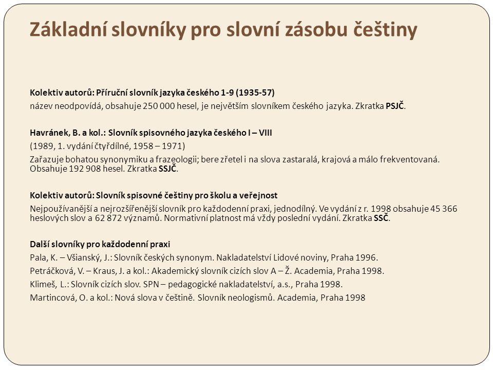 Základní slovníky pro slovní zásobu češtiny