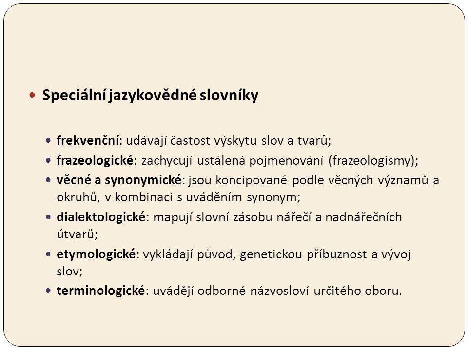 Speciální jazykovědné slovníky