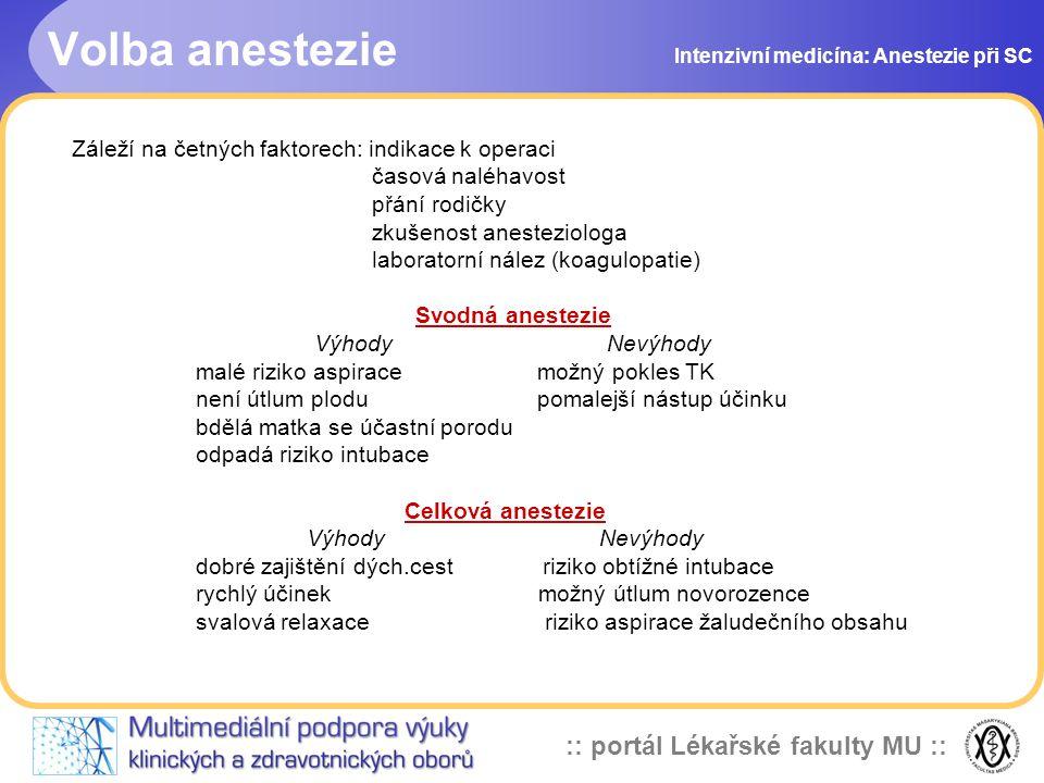 Volba anestezie Záleží na četných faktorech: indikace k operaci