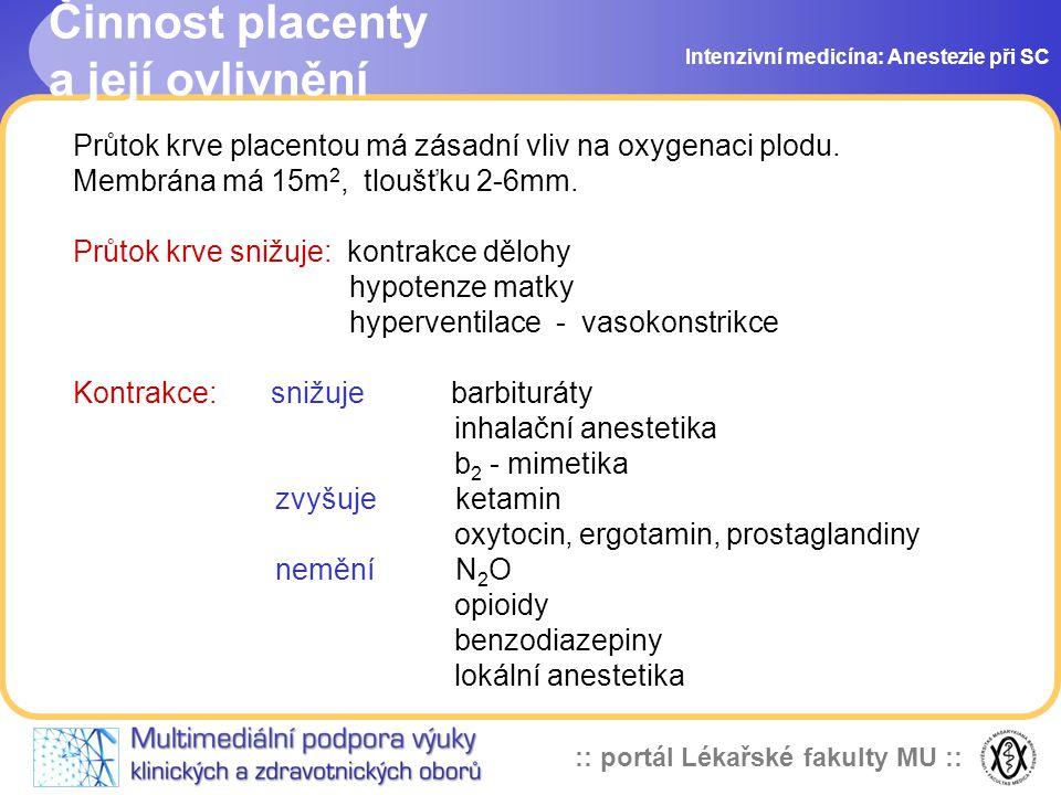Činnost placenty a její ovlivnění