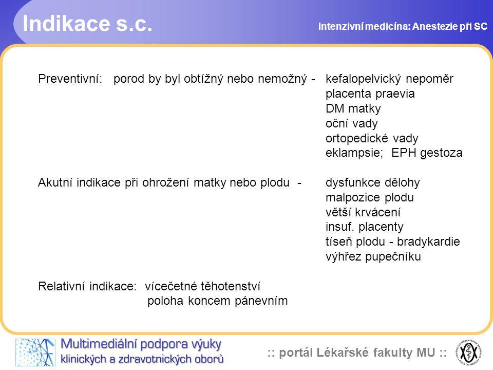 Indikace s.c. Intenzivní medicína: Anestezie při SC. Preventivní: porod by byl obtížný nebo nemožný - kefalopelvický nepoměr.