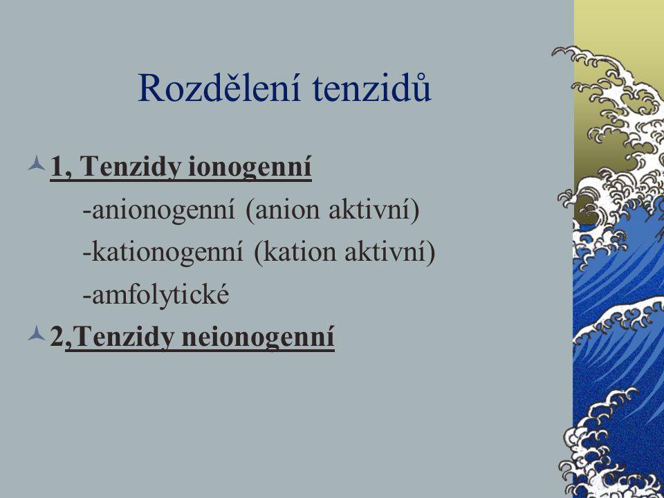 Rozdělení tenzidů 1, Tenzidy ionogenní -anionogenní (anion aktivní)