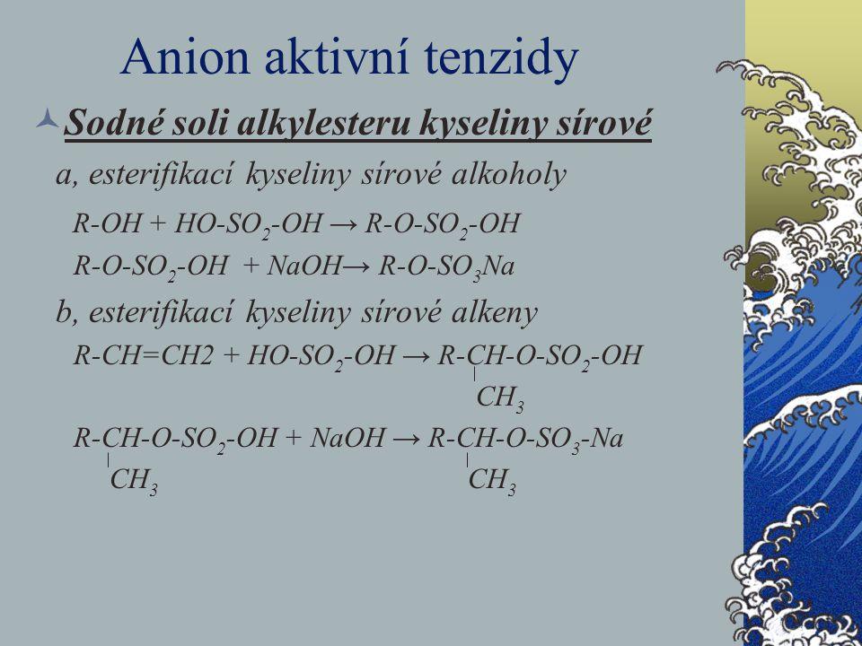 Anion aktivní tenzidy Sodné soli alkylesteru kyseliny sírové