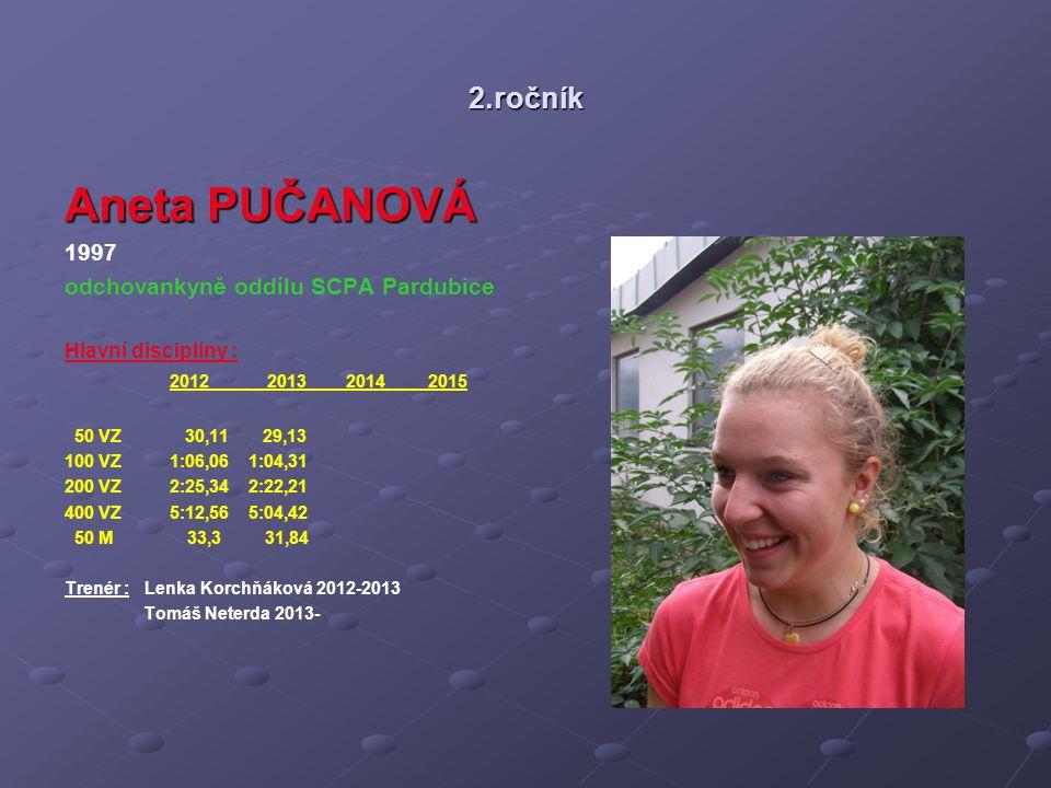 Aneta PUČANOVÁ 2.ročník 1997 odchovankyně oddílu SCPA Pardubice