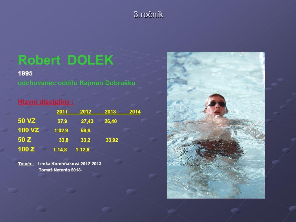 Robert DOLEK 3.ročník 1995 odchovanec oddílu Kajman Dobruška