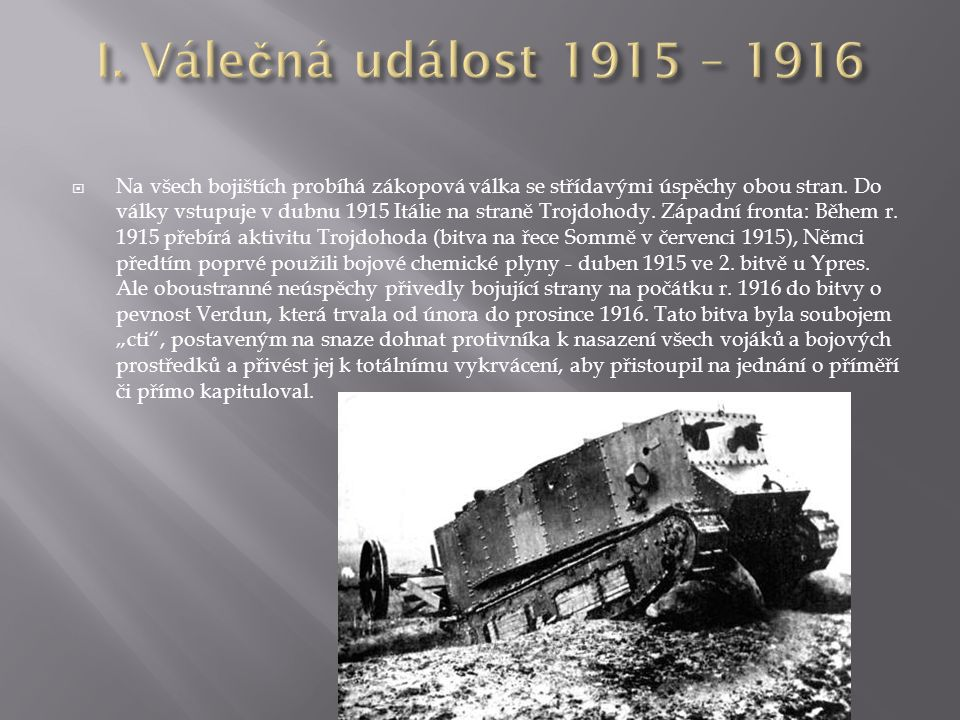 I. Válečná událost 1915 – 1916