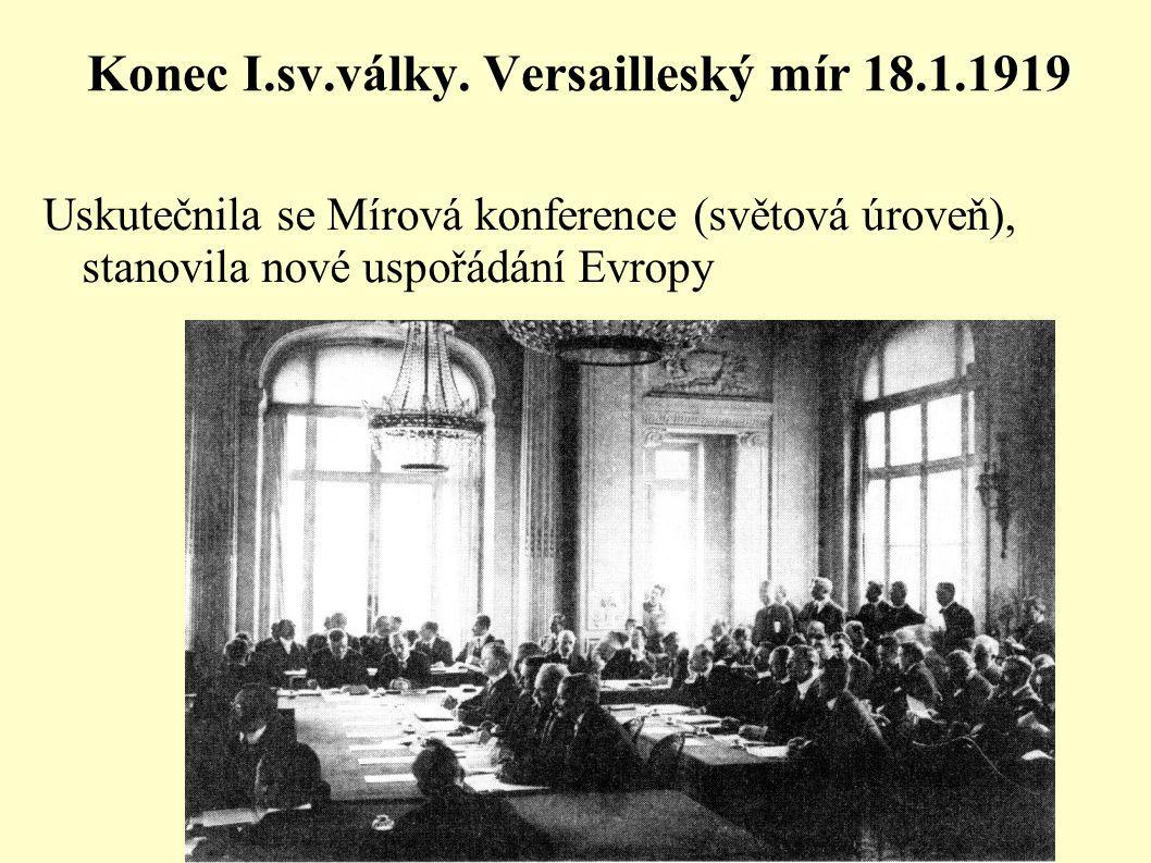 Konec I.sv.války. Versailleský mír 18.1.1919