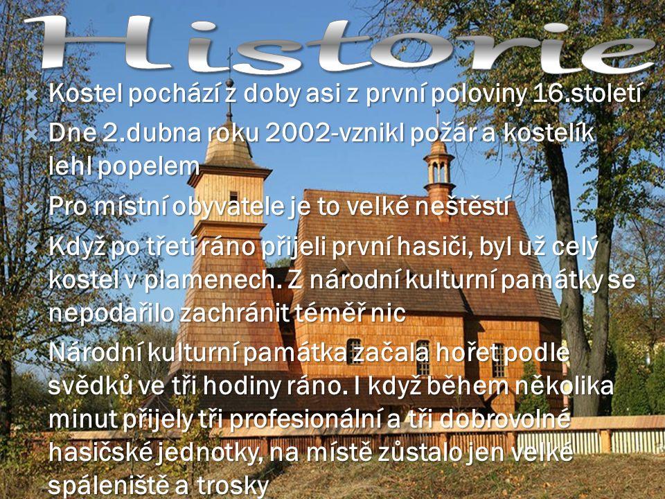 Historie Kostel pochází z doby asi z první poloviny 16.století