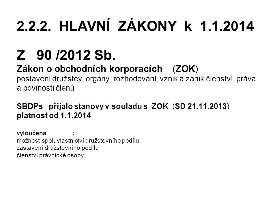 2.2.2. HLAVNÍ ZÁKONY k 1.1.2014 Z 90 /2012 Sb. Zákon o obchodních korporacích (ZOK)