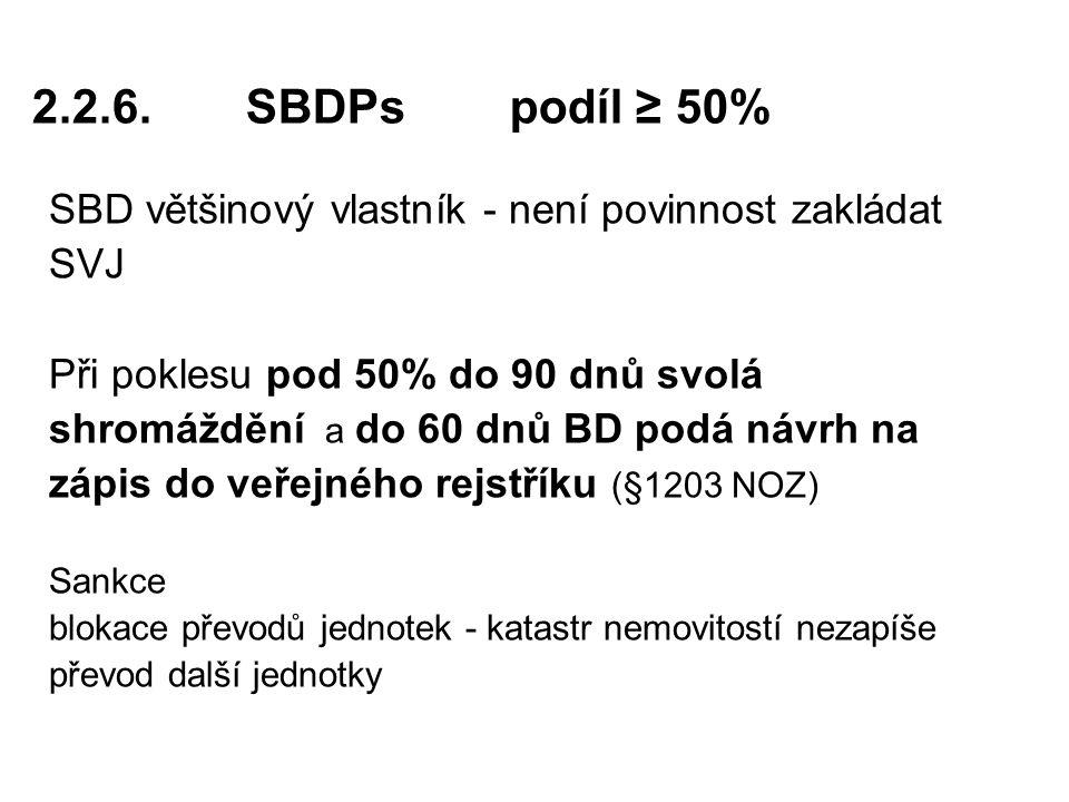 2.2.6. SBDPs podíl ≥ 50% SBD většinový vlastník - není povinnost zakládat. SVJ. Při poklesu pod 50% do 90 dnů svolá.