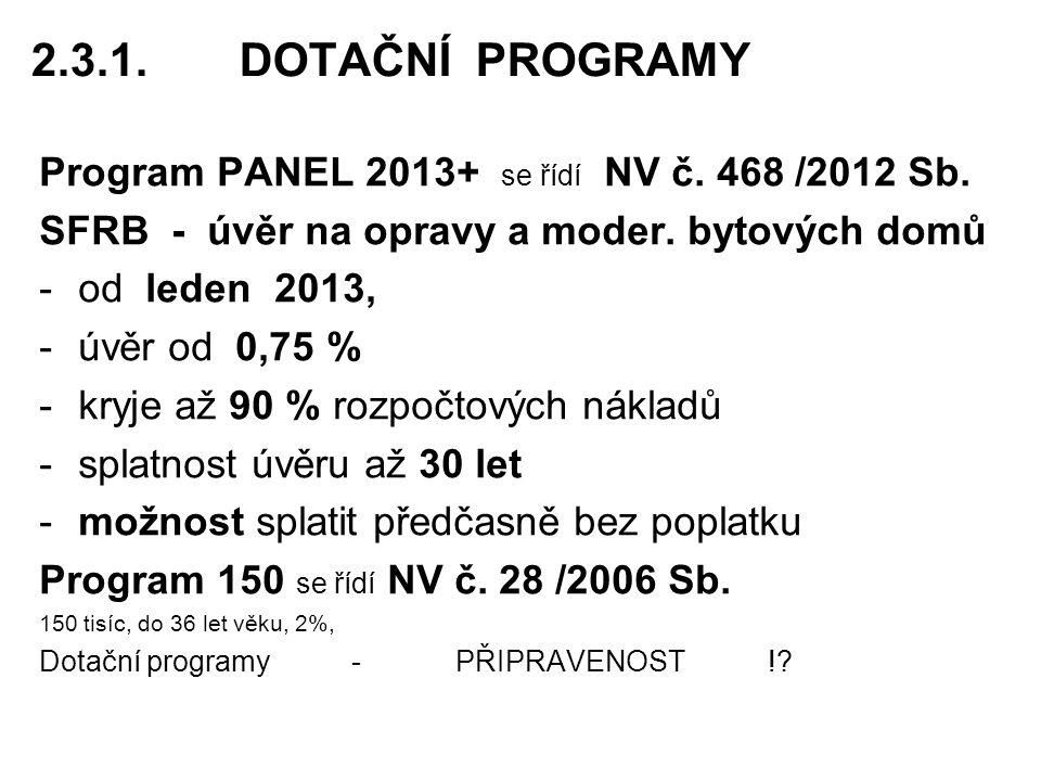 2.3.1. DOTAČNÍ PROGRAMY Program PANEL 2013+ se řídí NV č. 468 /2012 Sb. SFRB - úvěr na opravy a moder. bytových domů.