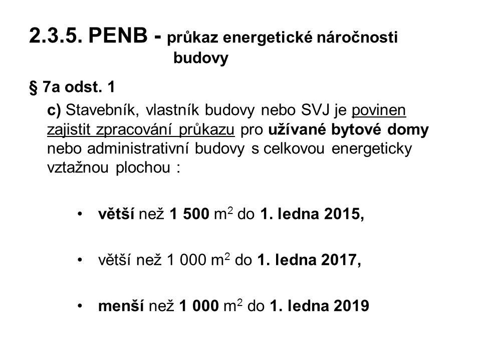 2.3.5. PENB - průkaz energetické náročnosti budovy