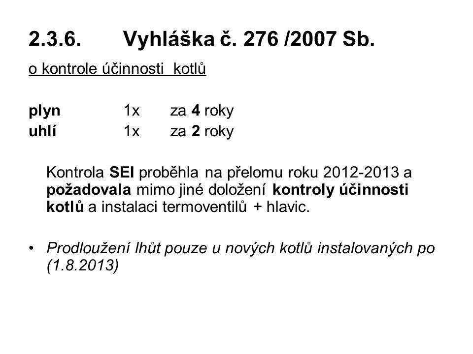2.3.6. Vyhláška č. 276 /2007 Sb. o kontrole účinnosti kotlů