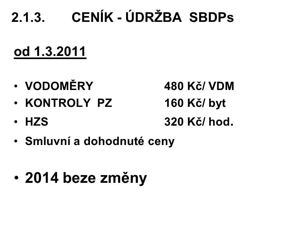 2014 beze změny 2.1.3. CENÍK - ÚDRŽBA SBDPs od 1.3.2011