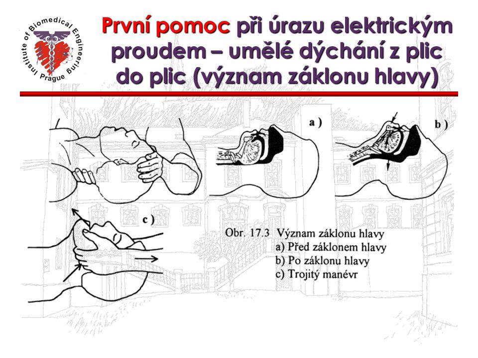 První pomoc při úrazu elektrickým proudem – umělé dýchání z plic do plic (význam záklonu hlavy)