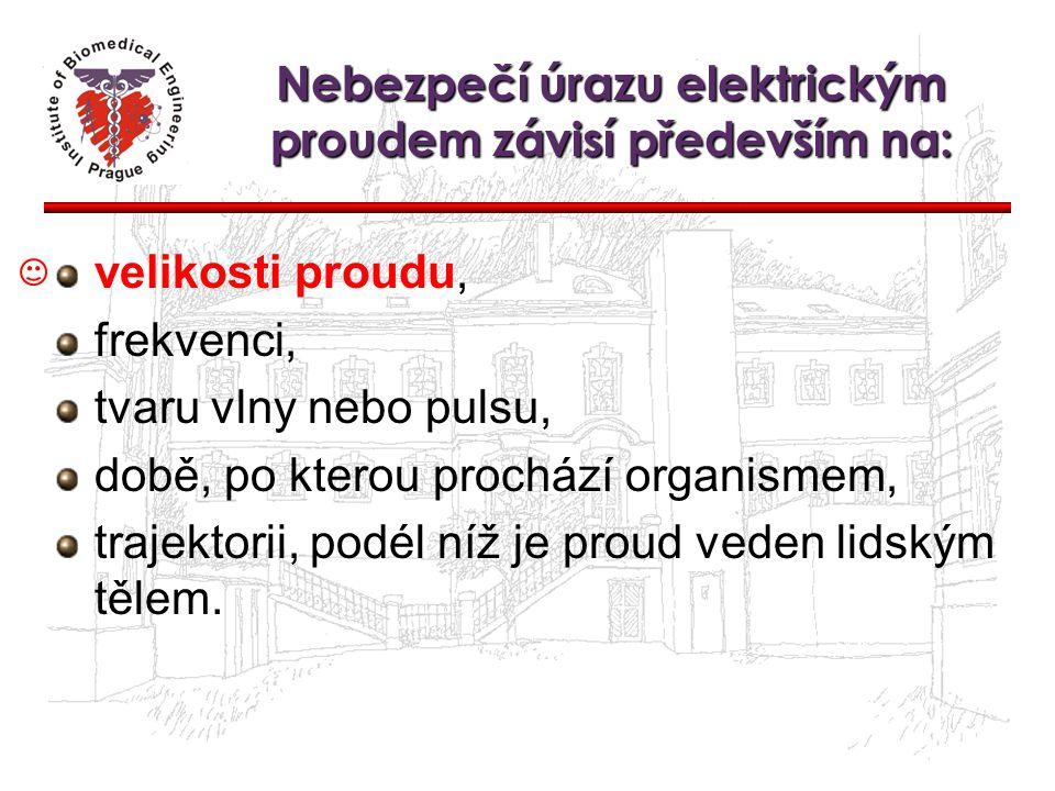 Nebezpečí úrazu elektrickým proudem závisí především na: