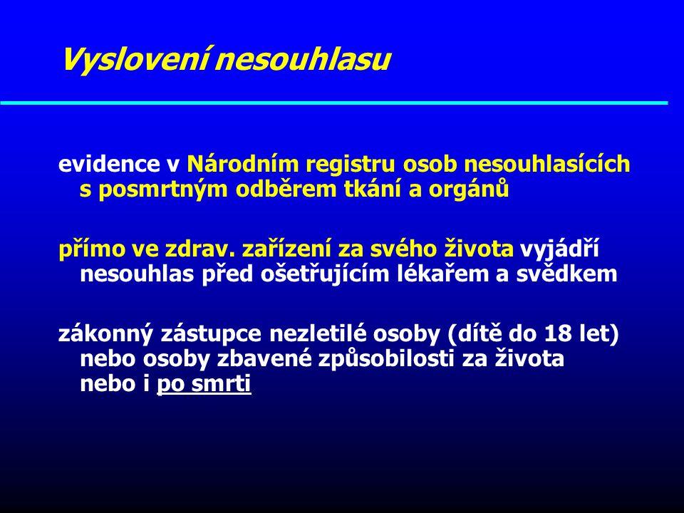 Vyslovení nesouhlasu evidence v Národním registru osob nesouhlasících s posmrtným odběrem tkání a orgánů.