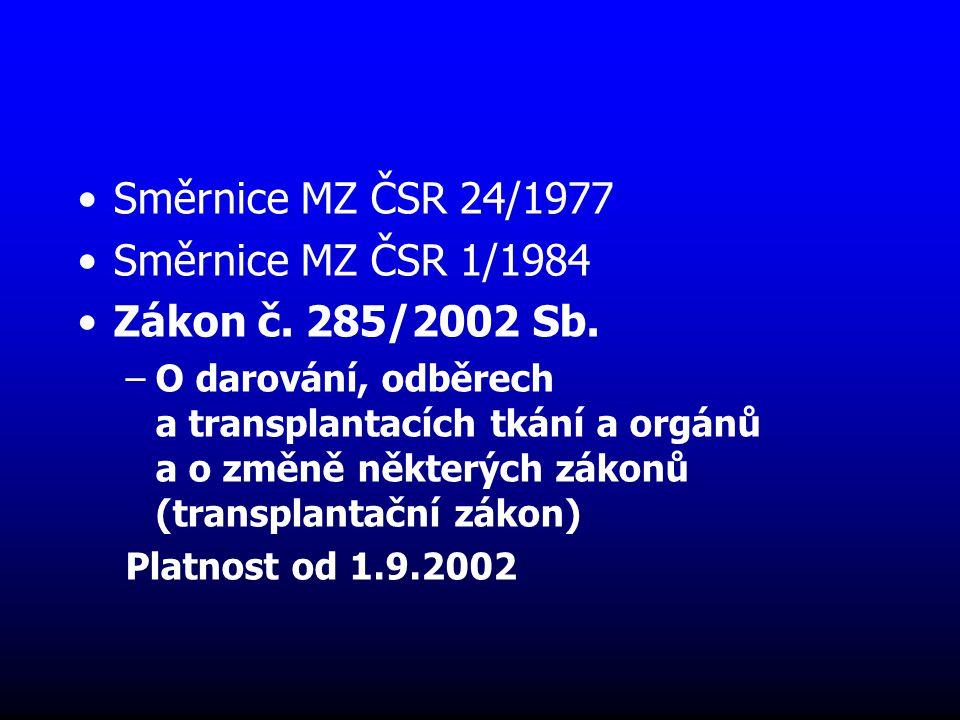Směrnice MZ ČSR 24/1977 Směrnice MZ ČSR 1/1984 Zákon č. 285/2002 Sb.