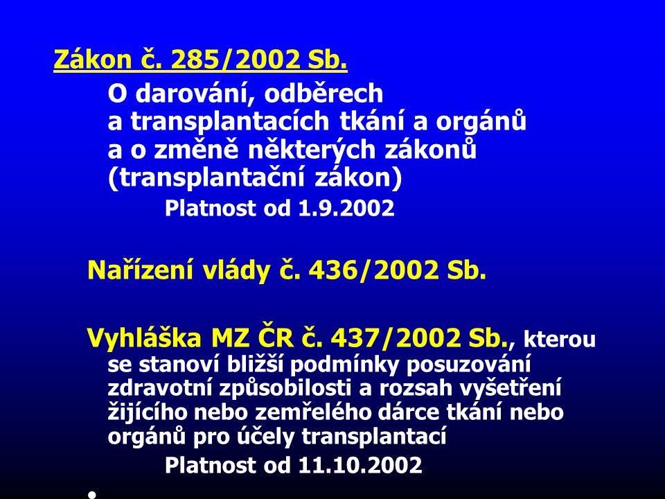 Zákon č. 285/2002 Sb. O darování, odběrech a transplantacích tkání a orgánů a o změně některých zákonů (transplantační zákon)