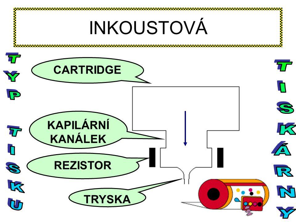 INKOUSTOVÁ TYP TISKU TISKÁRNY CARTRIDGE KAPILÁRNÍ KANÁLEK REZISTOR