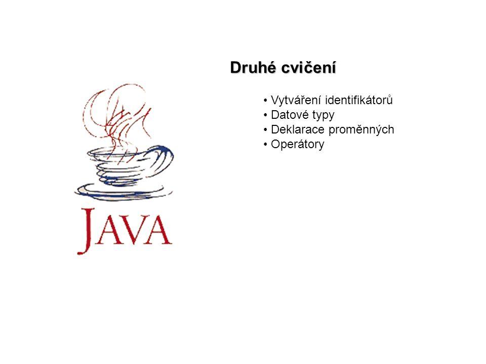Druhé cvičení Vytváření identifikátorů Datové typy