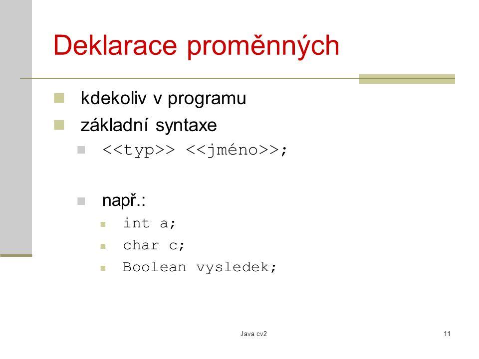 Deklarace proměnných kdekoliv v programu základní syntaxe