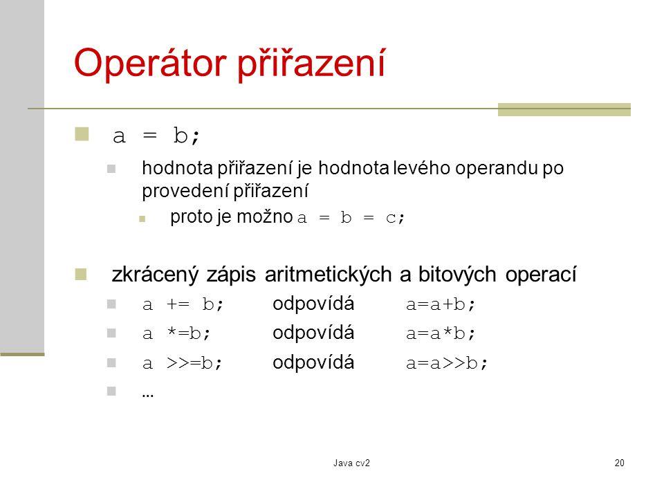 Operátor přiřazení a = b;