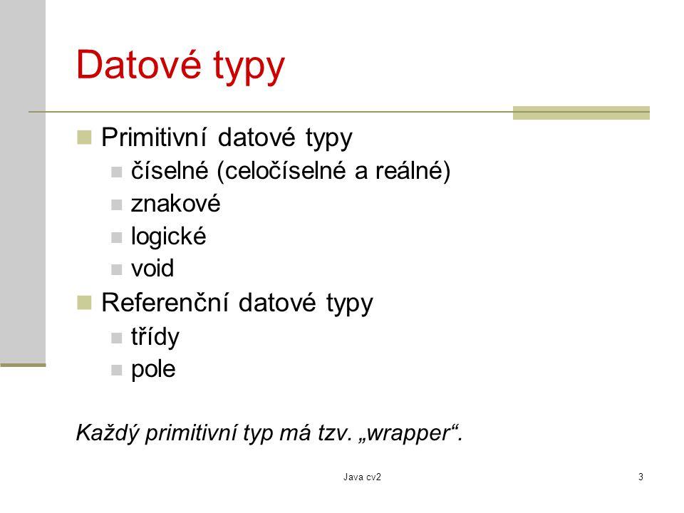 Datové typy Primitivní datové typy Referenční datové typy