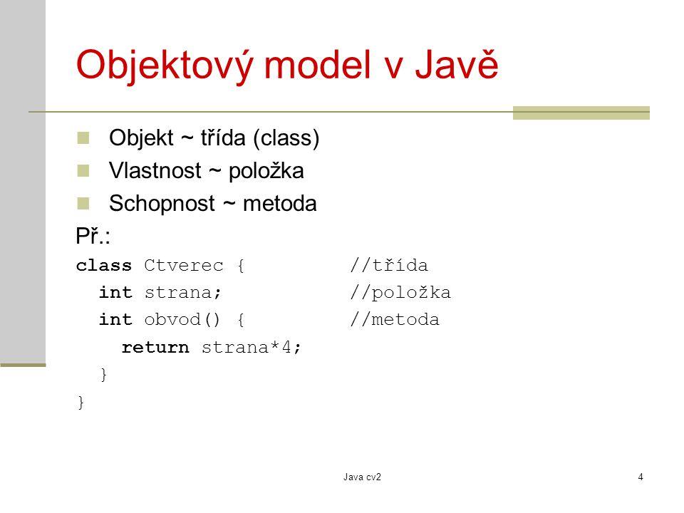 Objektový model v Javě Objekt ~ třída (class) Vlastnost ~ položka