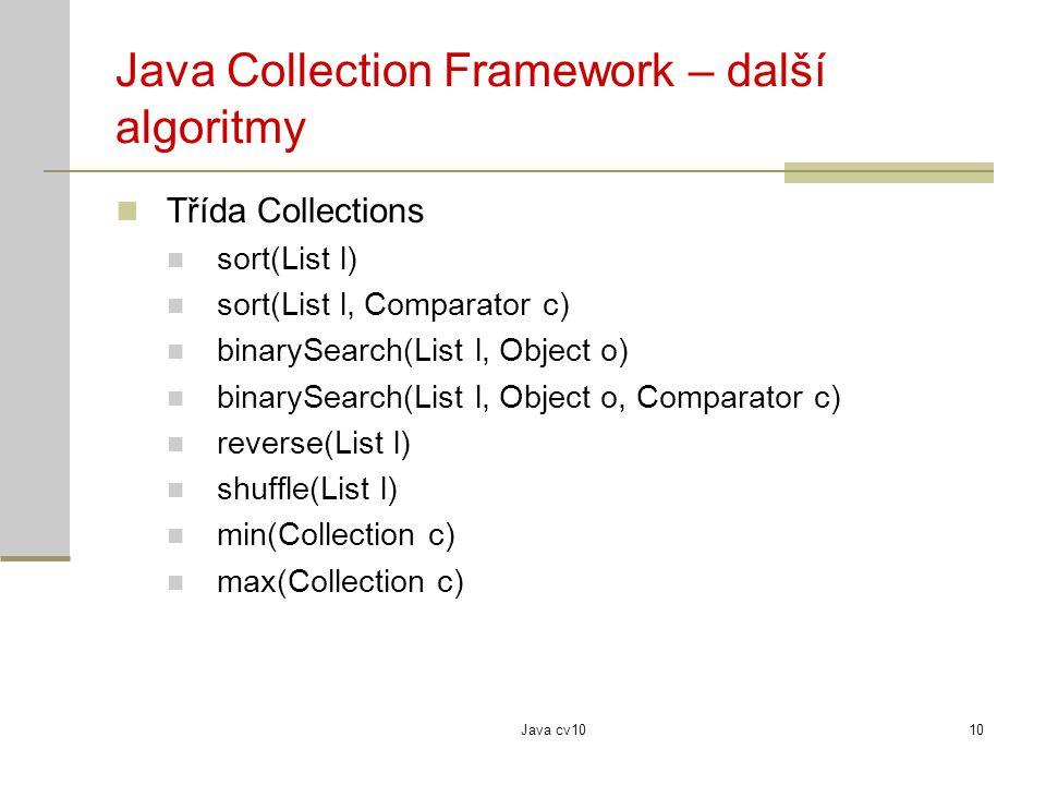 Java Collection Framework – další algoritmy