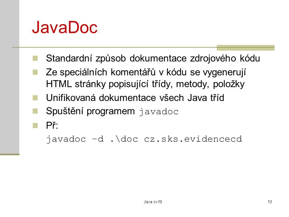 JavaDoc Standardní způsob dokumentace zdrojového kódu