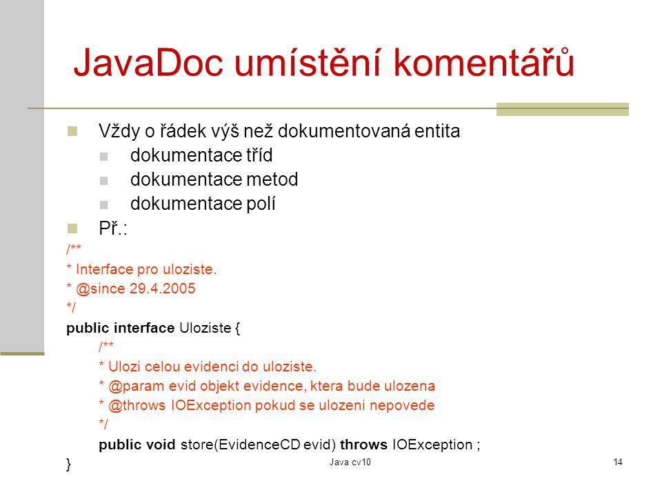 JavaDoc umístění komentářů