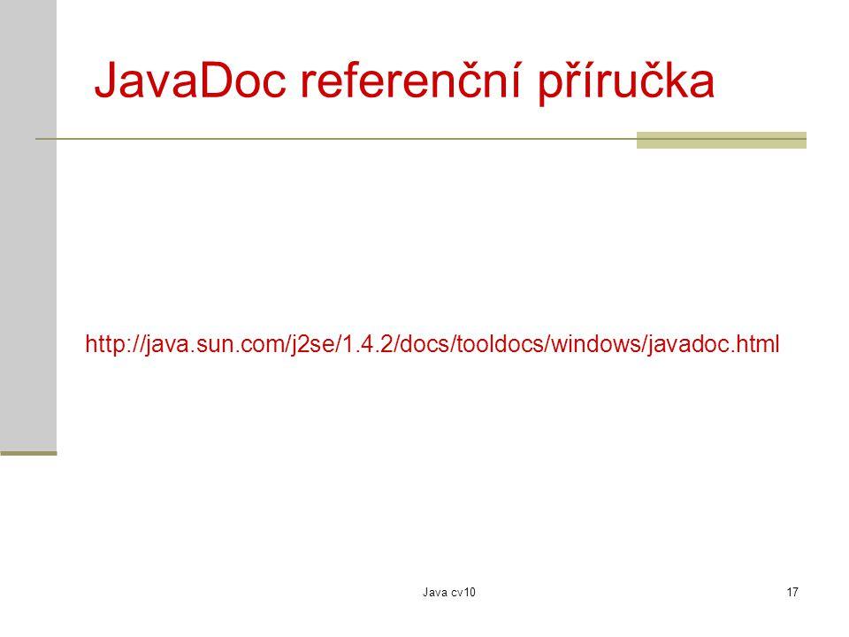 JavaDoc referenční příručka