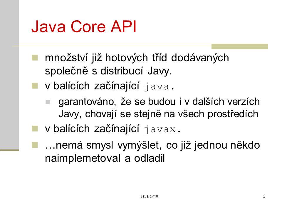 Java Core API množství již hotových tříd dodávaných společně s distribucí Javy. v balících začínající java.