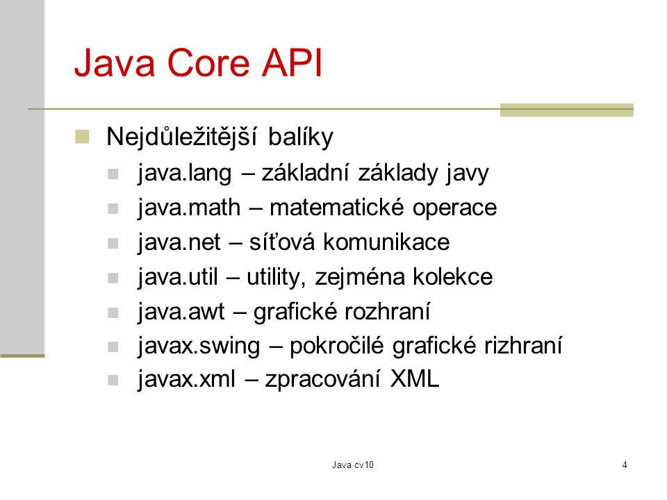 Java Core API Nejdůležitější balíky java.lang – základní základy javy
