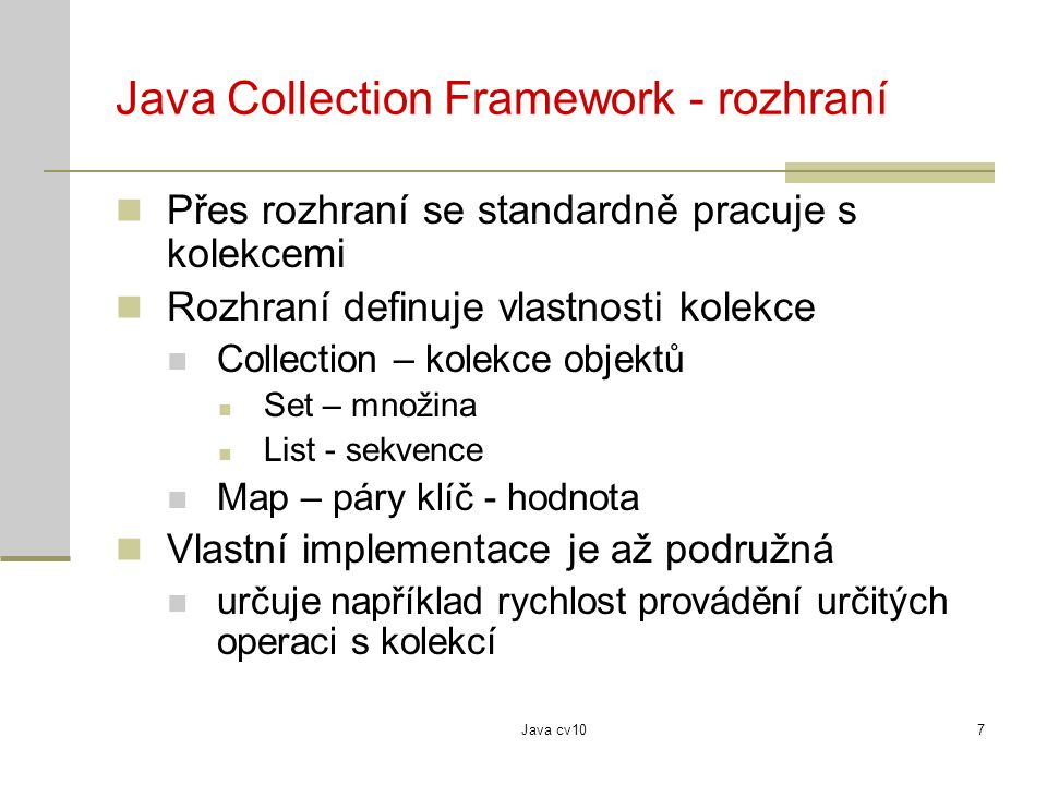 Java Collection Framework - rozhraní