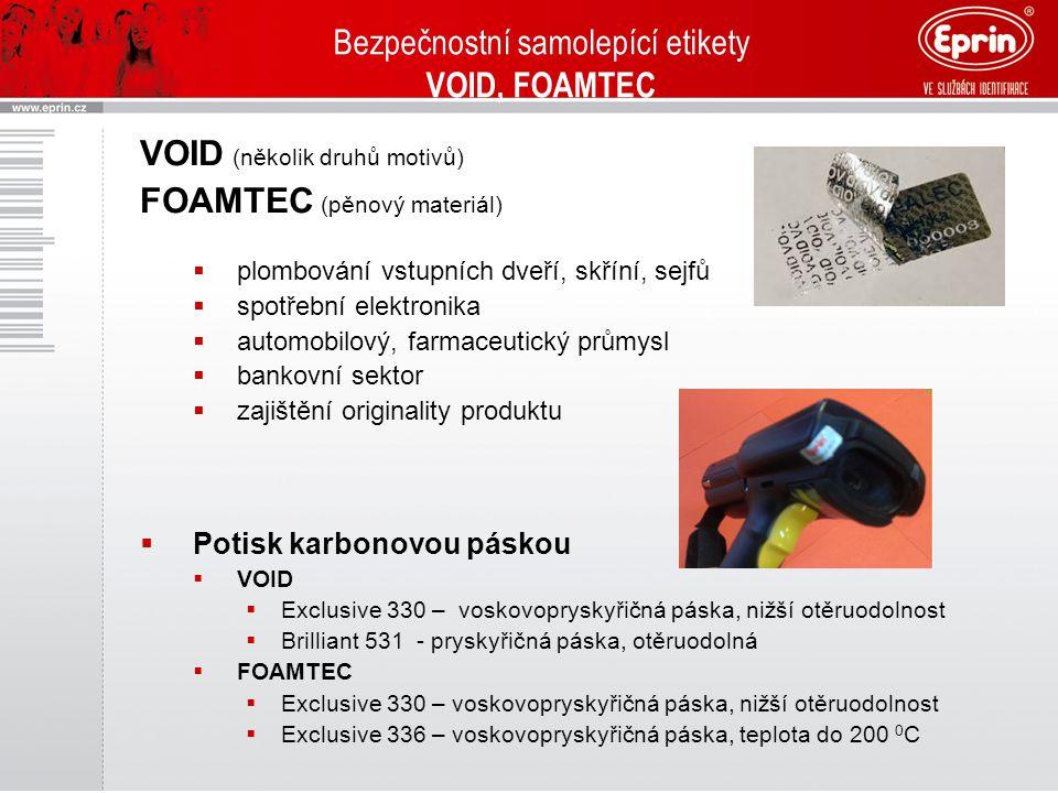 Bezpečnostní samolepící etikety VOID, FOAMTEC