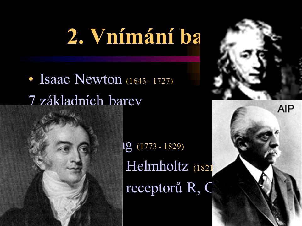 2. Vnímání barev Isaac Newton (1643 - 1727) 7 základních barev