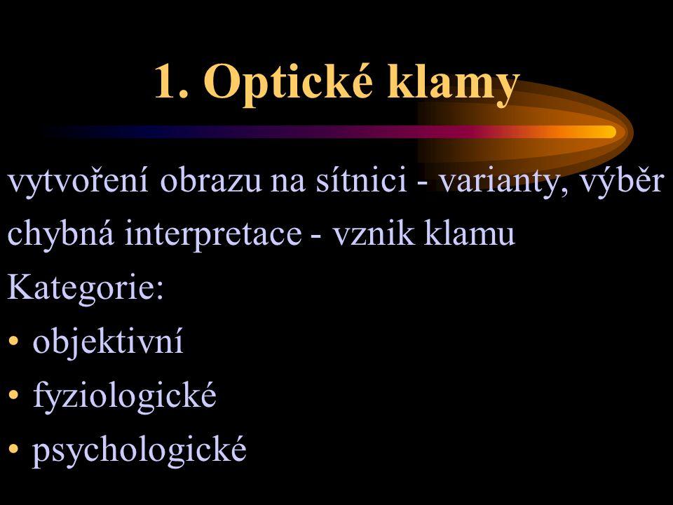 1. Optické klamy vytvoření obrazu na sítnici - varianty, výběr