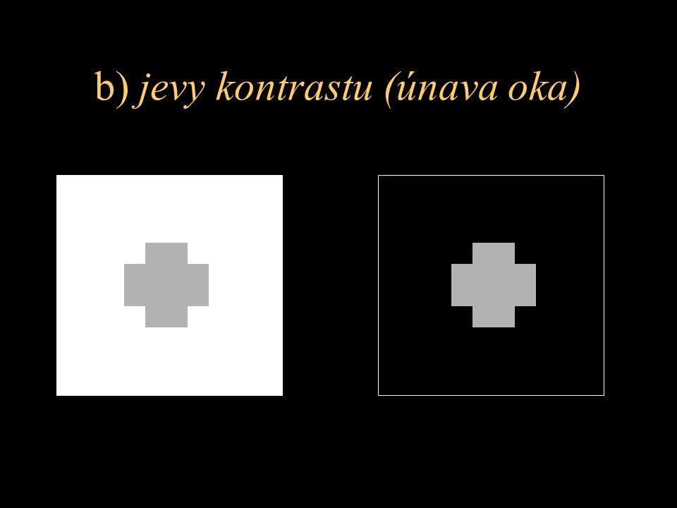 b) jevy kontrastu (únava oka)