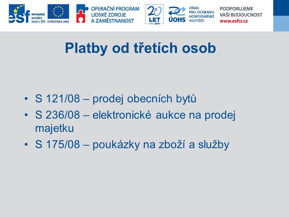 Platby od třetích osob S 121/08 – prodej obecních bytů